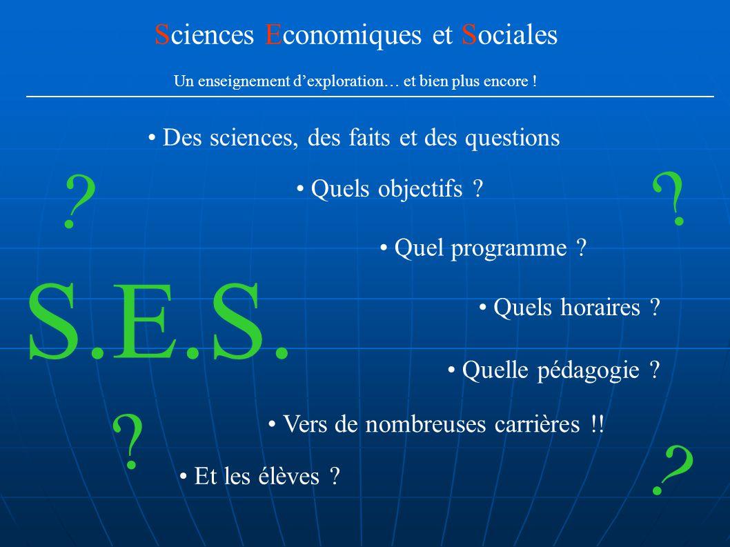Quels objectifs ? Quel programme ? Quels horaires ? Quelle pédagogie ? Et les élèves ? S.E.S. ? ? ? ? Des sciences, des faits et des questions Science