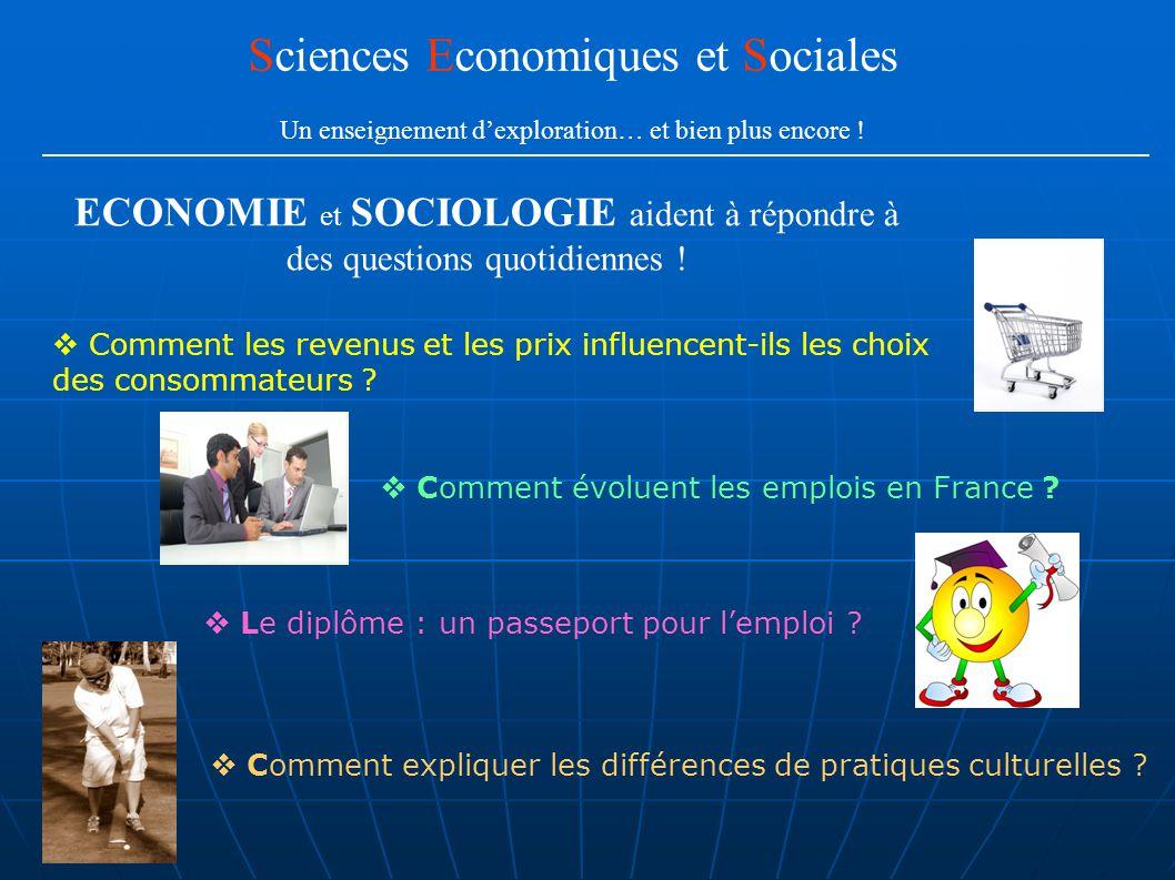 Comment évoluent les emplois en France ? Comment les revenus et les prix influencent-ils les choix des consommateurs ? Comment expliquer les différenc
