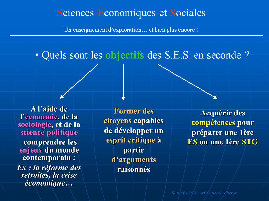 Quels sont les objectifs des S.E.S. en seconde ? A laide de léconomie, de la sociologie, et de la science politique comprendre les enjeux du monde con