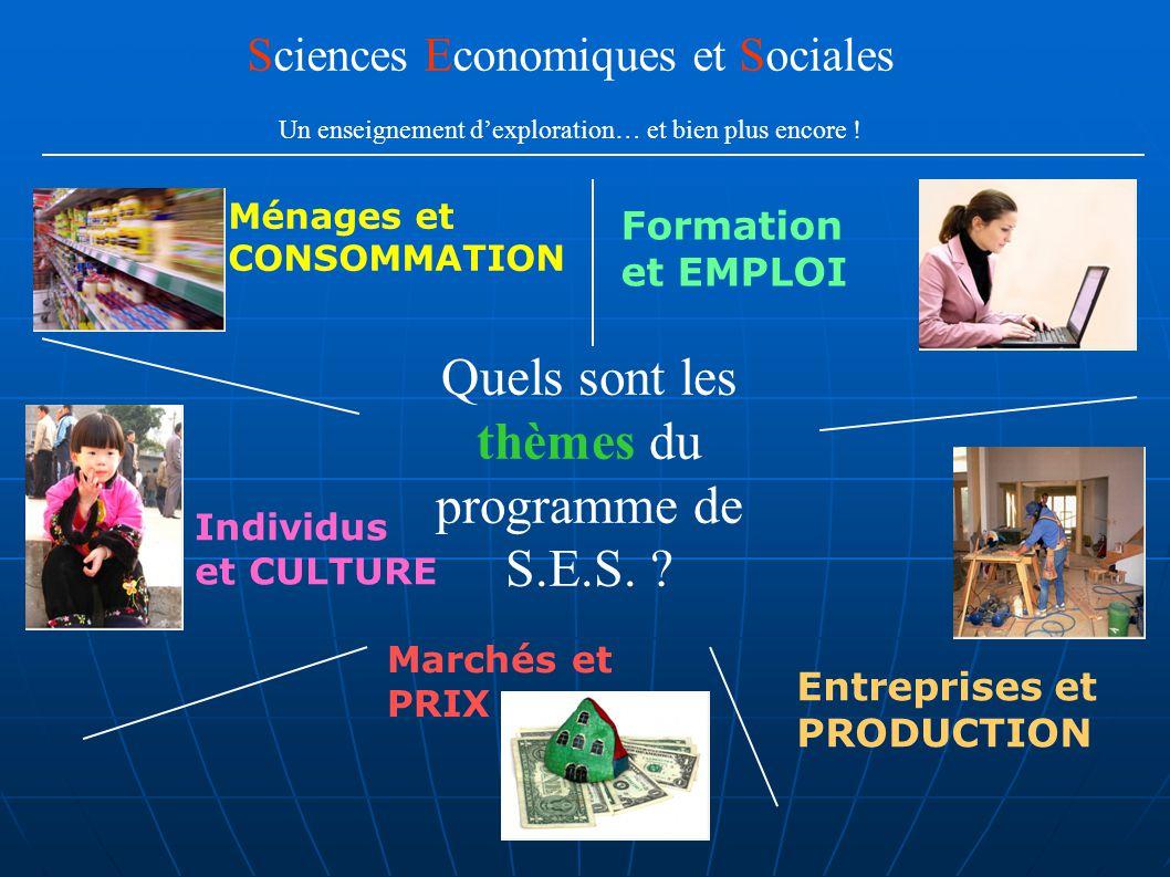 Quels sont les thèmes du programme de S.E.S. ? Formation et EMPLOI Ménages et CONSOMMATION Individus et CULTURE Entreprises et PRODUCTION Marchés et P