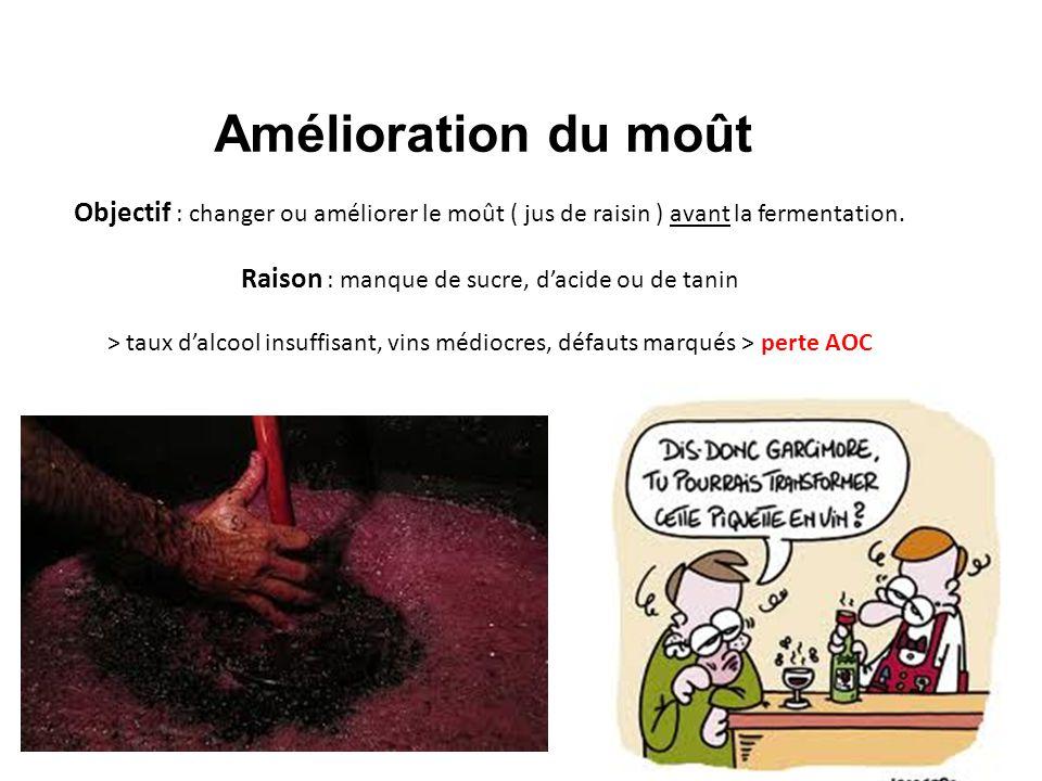 Amélioration du moût Objectif : changer ou améliorer le moût ( jus de raisin ) avant la fermentation. Raison : manque de sucre, dacide ou de tanin > t