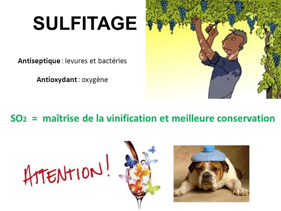 SULFITAGE Antiseptique : levures et bactéries Antioxydant : oxygène SO 2 = maîtrise de la vinification et meilleure conservation