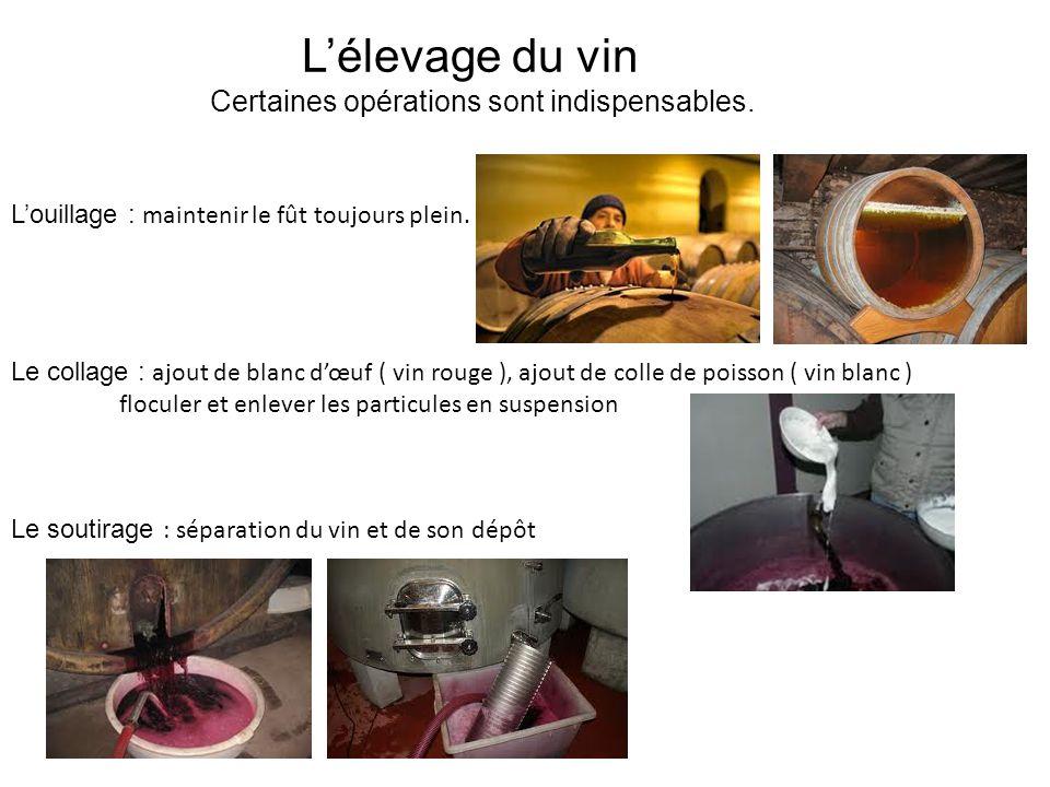 Lélevage du vin Certaines opérations sont indispensables. Louillage : maintenir le fût toujours plein. Le collage : ajout de blanc dœuf ( vin rouge ),