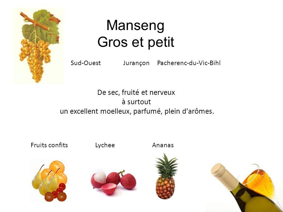 Manseng Gros et petit Sud-Ouest Jurançon Pacherenc-du-Vic-Bihl De sec, fruité et nerveux à surtout un excellent moelleux, parfumé, plein d'arômes. Fru