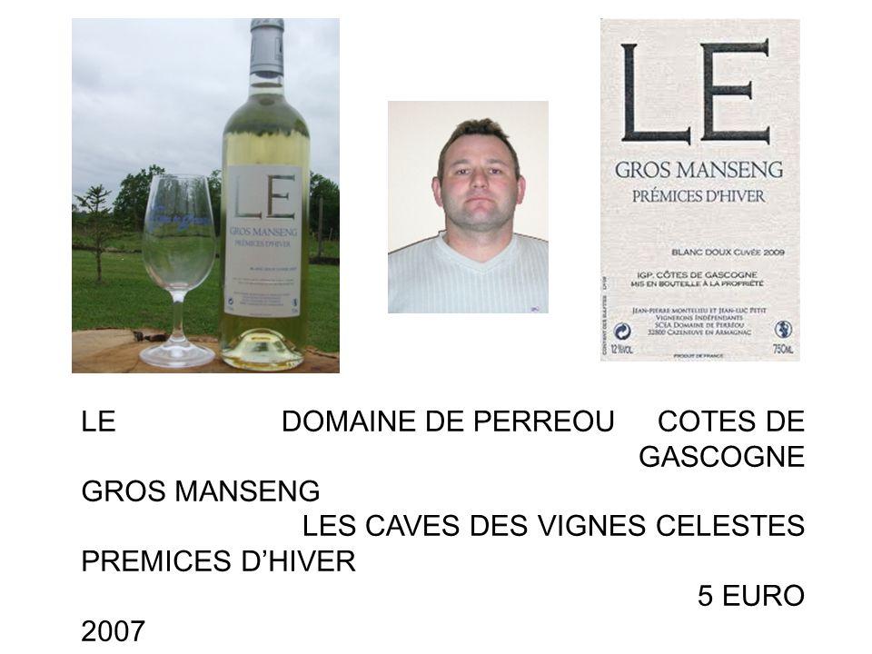 LE GROS MANSENG PREMICES DHIVER 2007 DOMAINE DE PERREOU COTES DE GASCOGNE LES CAVES DES VIGNES CELESTES 5 EURO PAS EN AOC