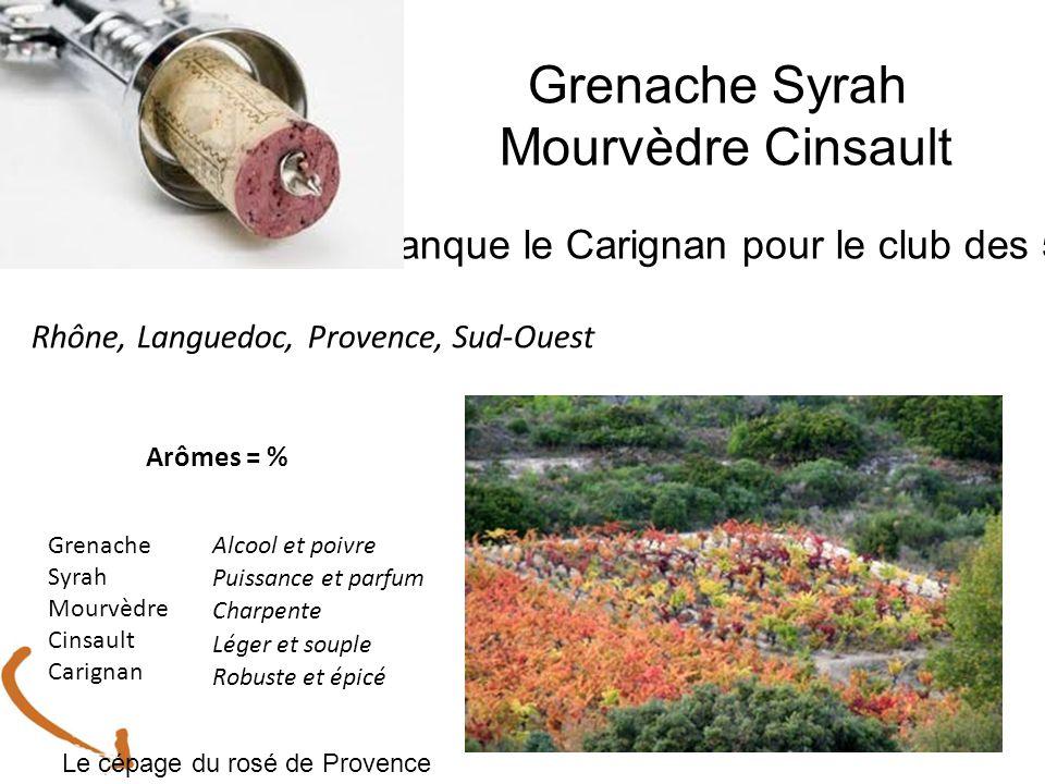 Grenache Syrah Mourvèdre Cinsault Manque le Carignan pour le club des 5 ! Rhône, Languedoc, Provence, Sud-Ouest Grenache Syrah Mourvèdre Cinsault Cari