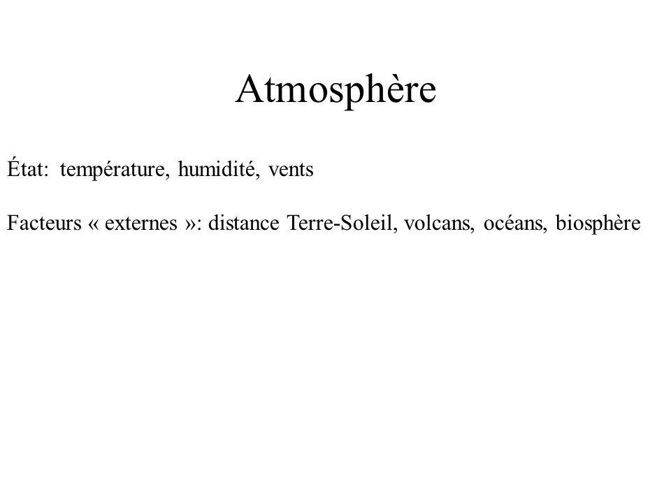 Atmosphère État: température, humidité, vents Facteurs « externes »: distance Terre-Soleil, volcans, océans, biosphère