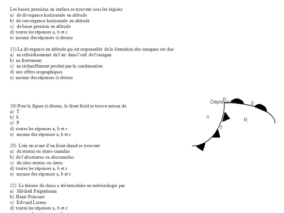 Les basses pressions en surface se trouvent sous les régions a) de divergence horizontale en altitude b) de convergence horizontale en altitude c) de