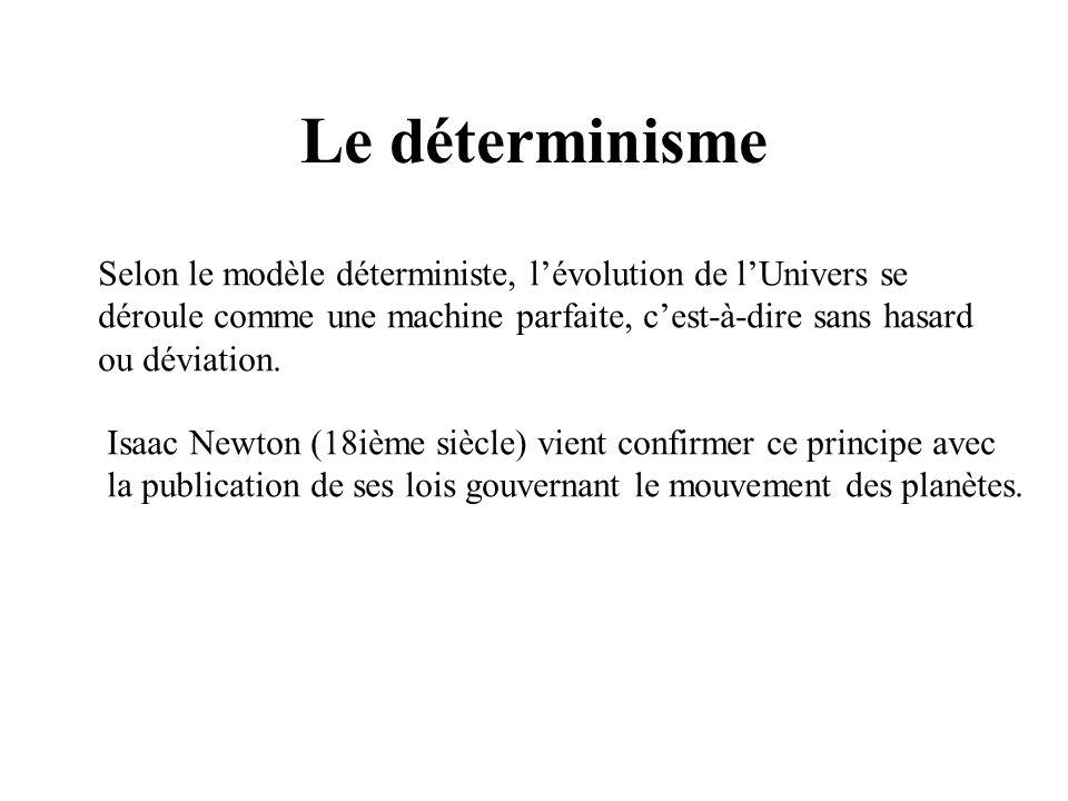 Le déterminisme Selon le modèle déterministe, lévolution de lUnivers se déroule comme une machine parfaite, cest-à-dire sans hasard ou déviation. Isaa