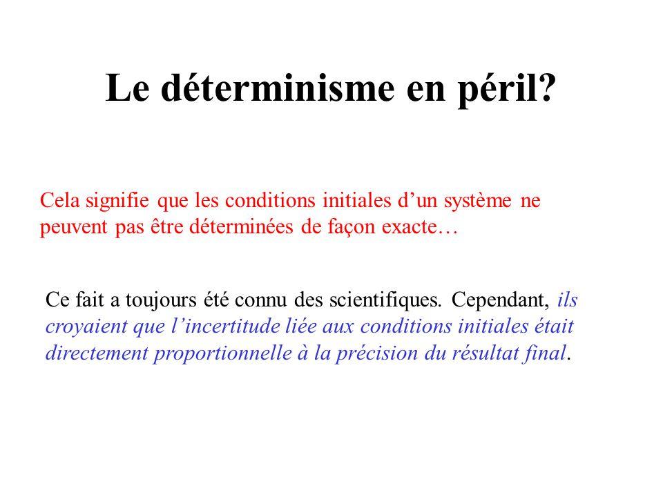 Le déterminisme en péril? Cela signifie que les conditions initiales dun système ne peuvent pas être déterminées de façon exacte… Ce fait a toujours é