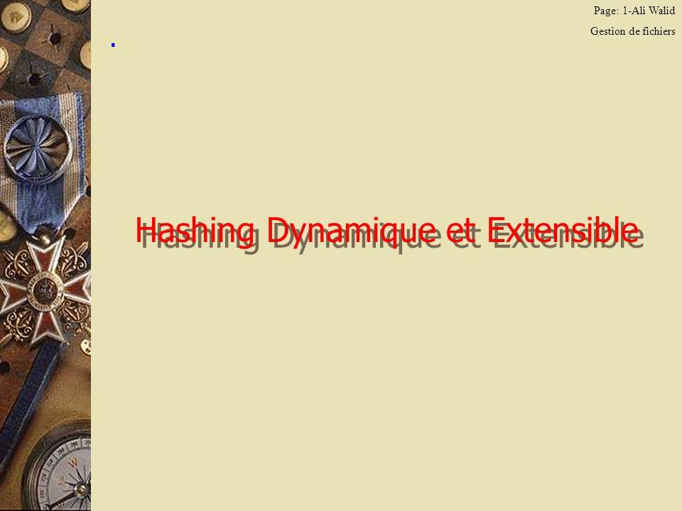 Page: 2-Ali Walid Gestion de fichiers Le hashing dynamique/extensible On veut inserer les enregistrements suivants: A: 000010 B: 111110 C: 010111 D: 000000 E: 101011 F: 010110 G: 101100 H: 011011 I: 011010 J: 001110 Sens de lecture des bits, la taille du bloc du fichier de donnes est = 2 enregistrements