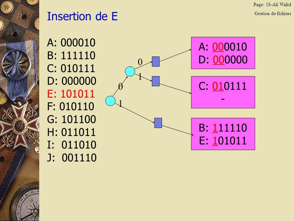 Page: 18-Ali Walid Gestion de fichiers Insertion de E. A: 000010 B: 111110 C: 010111 D: 000000 E: 101011 F: 010110 G: 101100 H: 011011 I: 011010 J: 00