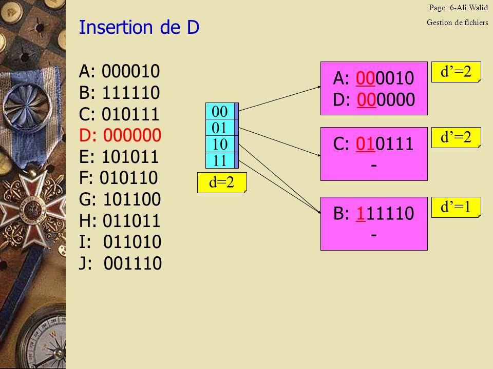 Page: 7-Ali Walid Gestion de fichiers Insertion de E.