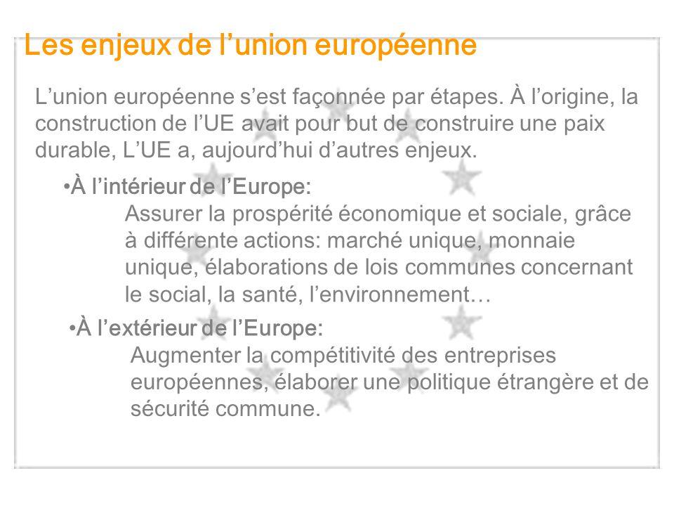 Les enjeux de lunion européenne Lunion européenne sest façonnée par étapes. À lorigine, la construction de lUE avait pour but de construire une paix d