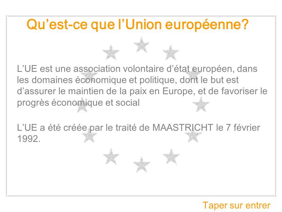 Quest-ce que lUnion européenne? LUE est une association volontaire détat européen, dans les domaines économique et politique, dont le but est dassurer