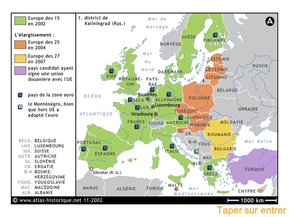 Le poids de lEurope dans le monde Population: La superficie Le PIB Plus de 450 millions dhabitant 3.2 millions de km²Plus petit que la Russie, mais plus grand que la Chine, les USA… Moins que la Chine ou lInde, mais plus que les USA, le Japon, la Russie Dépasse de 10% celui des USA, de 65% celui du Japon LEurope est une des zones dans le monde la plus peuplée et la plus riche, cest la plus grande puissance économique.