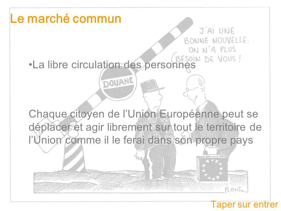 Taper sur entrer Le marché commun La libre circulation des personnes Chaque citoyen de lUnion Européenne peut se déplacer et agir librement sur tout l