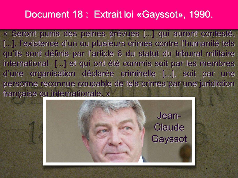 12 Document 18 : Extrait loi «Gayssot», 1990. « Seront punis des peines prévues [...] qui auront contesté, [...], lexistence dun ou plusieurs crimes c