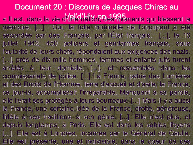 15 Document 20 : Discours de Jacques Chirac au VeldHiv en 1995. « Il est, dans la vie d'une nation, des moments qui blessent la mémoire, [...] Oui, la