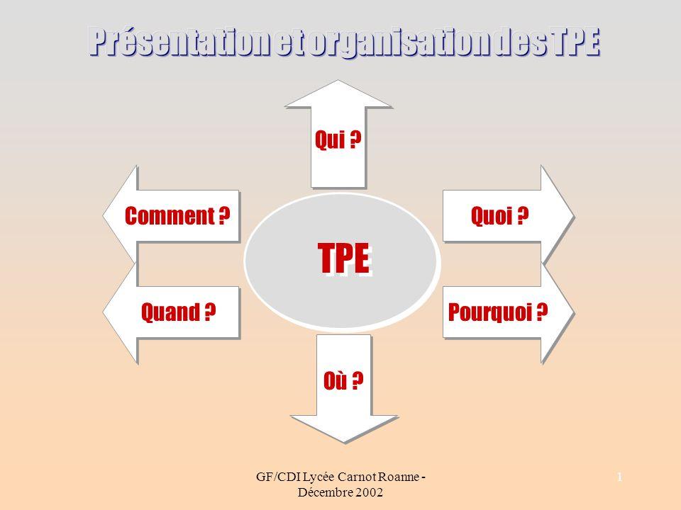GF/CDI Lycée Carnot Roanne - Décembre 2002 1 TPE Comment ? Quoi ? Qui ? Quand ? Pourquoi ? Où ?