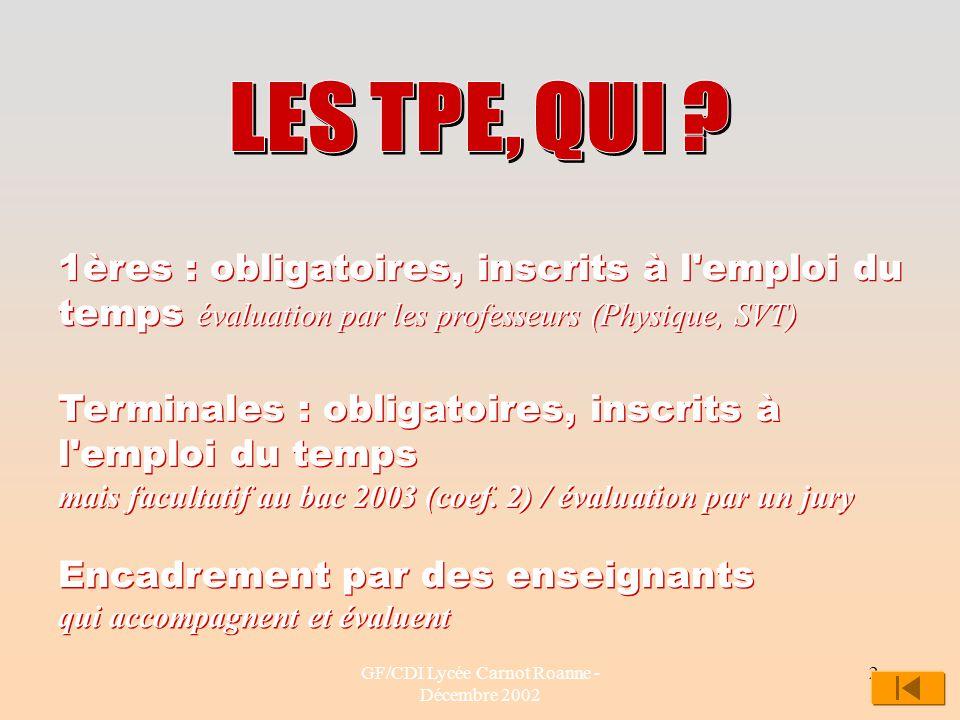 GF/CDI Lycée Carnot Roanne - Décembre 2002 2 1ères : obligatoires, inscrits à l'emploi du temps évaluation par les professeurs (Physique, SVT) Termina