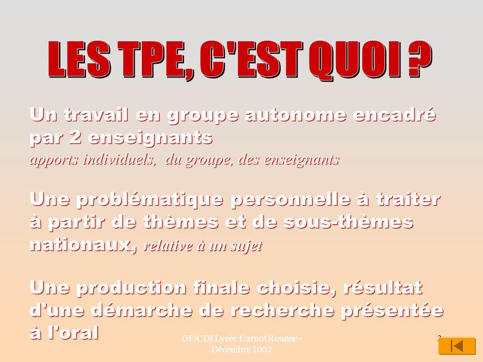 GF/CDI Lycée Carnot Roanne - Décembre 2002 3 Un travail en groupe autonome encadré par 2 enseignants apports individuels, du groupe, des enseignants U