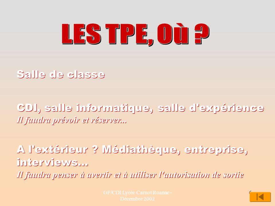 GF/CDI Lycée Carnot Roanne - Décembre 2002 6 Salle de classe CDI, salle informatique, salle d'expérience Il faudra prévoir et réserver... A l'extérieu