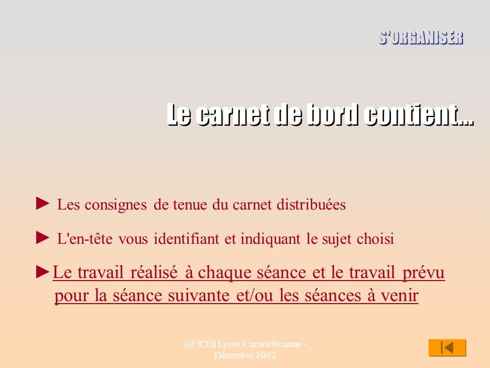 GF/CDI Lycée Carnot Roanne - Décembre 2002 9 Le carnet de bord contient... Les consignes de tenue du carnet distribuées L'en-tête vous identifiant et
