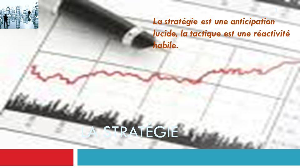 LA STRATÉGIE 1 La stratégie est une anticipation lucide, la tactique est une réactivité habile.