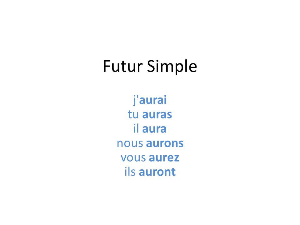 Futur Simple j'aurai tu auras il aura nous aurons vous aurez ils auront