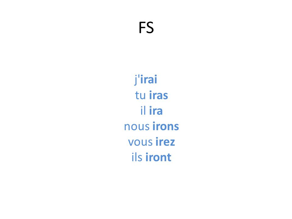 The endings for either Regular or irregular verbs are: Je-----------------------------------ra Tu----------------------------------ras Il/elle/on-------------------------ra Nous------------------------------rons Vous-------------------------------rez Ils/ elles--------------------------ront