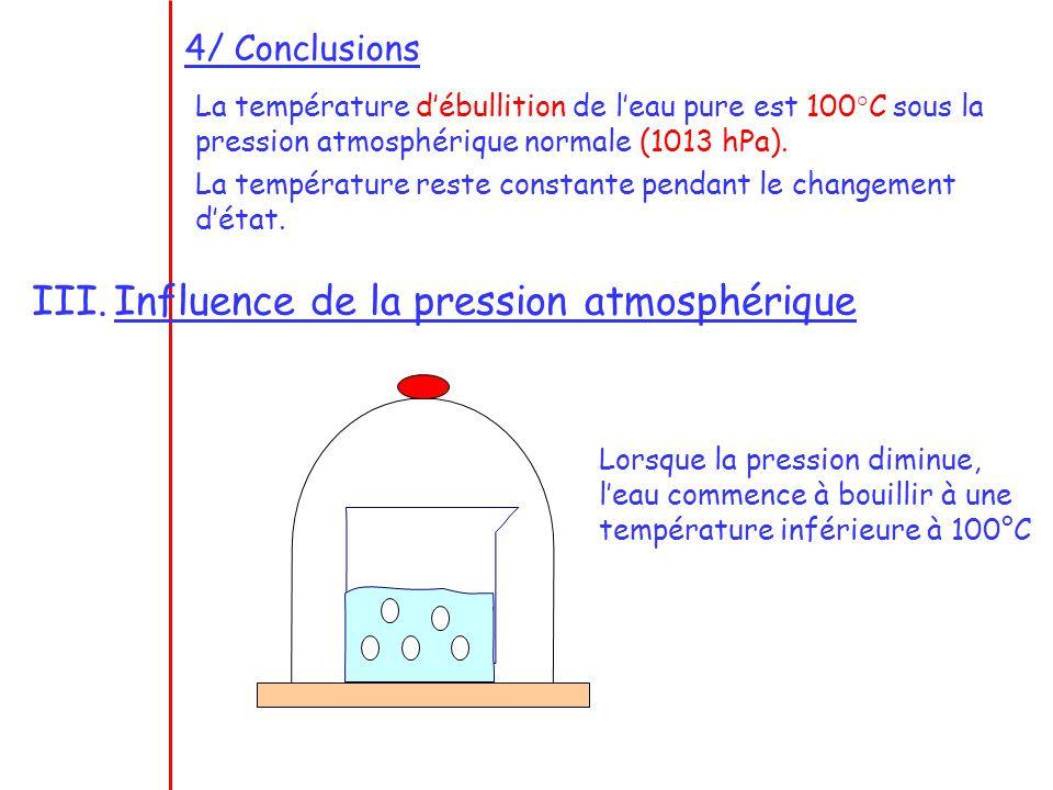 4/ Conclusions La température débullition de leau pure est 100°C sous la pression atmosphérique normale (1013 hPa). La température reste constante pen