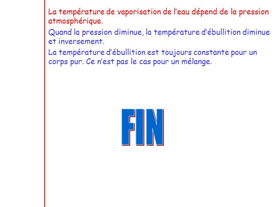 La température de vaporisation de leau dépend de la pression atmosphérique. Quand la pression diminue, la température débullition diminue et inverseme