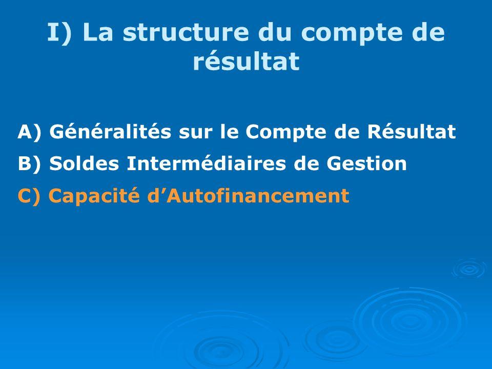 I) La structure du compte de résultat A) Généralités sur le Compte de Résultat B) Soldes Intermédiaires de Gestion C) Capacité dAutofinancement