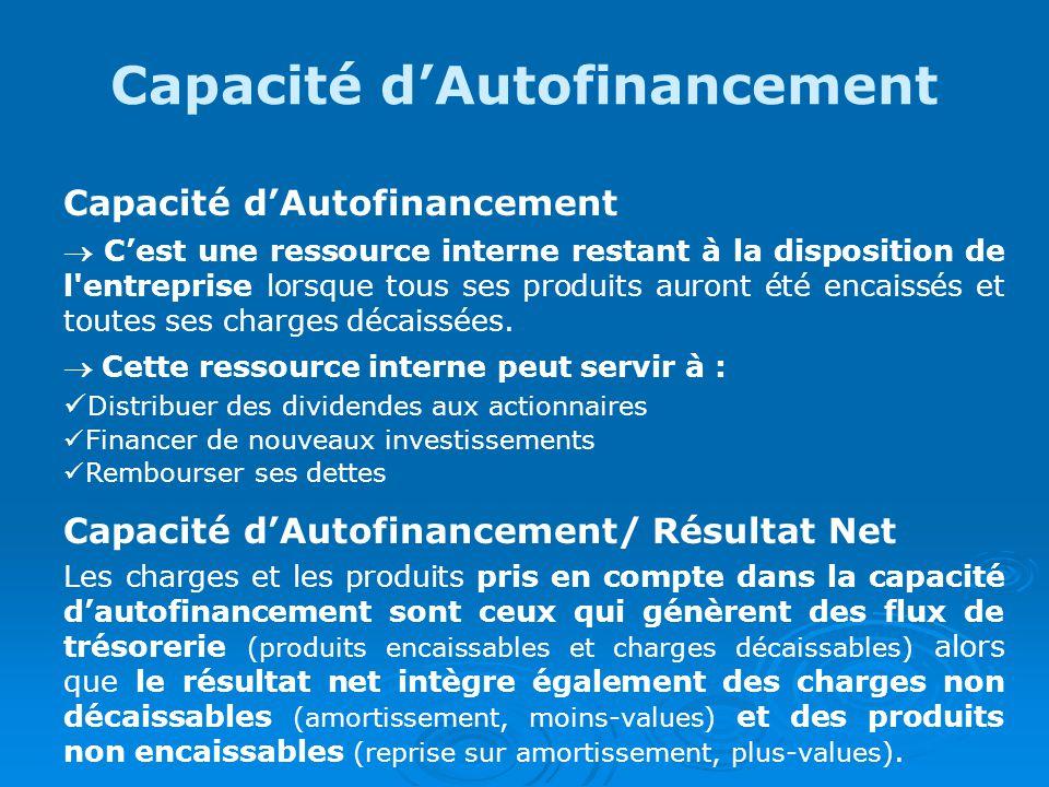 Capacité dAutofinancement Cest une ressource interne restant à la disposition de l entreprise lorsque tous ses produits auront été encaissés et toutes ses charges décaissées.
