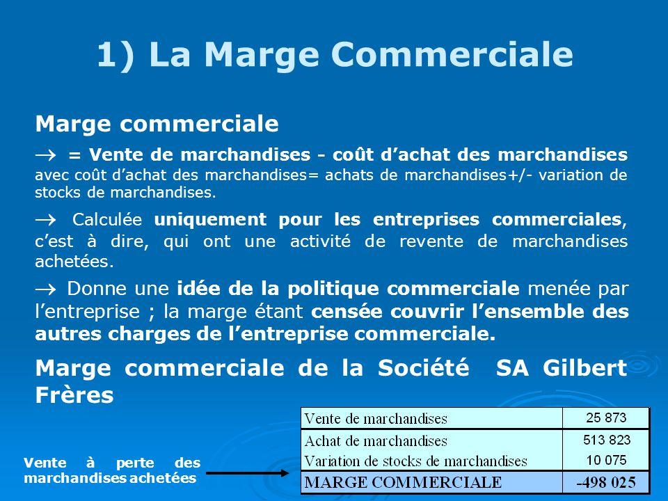1) La Marge Commerciale Marge commerciale = Vente de marchandises - coût dachat des marchandises avec coût dachat des marchandises= achats de marchandises+/- variation de stocks de marchandises.
