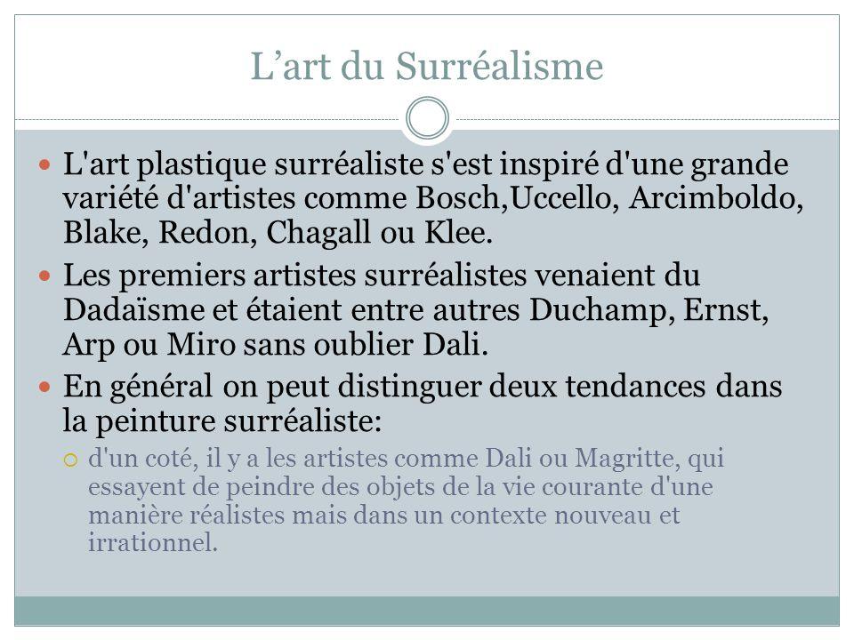 Lart du Surréalisme L'art plastique surréaliste s'est inspiré d'une grande variété d'artistes comme Bosch,Uccello, Arcimboldo, Blake, Redon, Chagall o