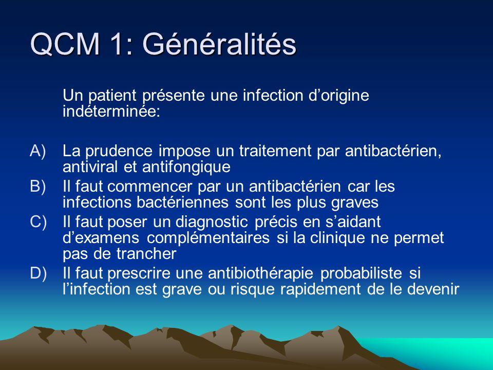 QCM 1: Généralités Un patient présente une infection dorigine indéterminée: A)La prudence impose un traitement par antibactérien, antiviral et antifon