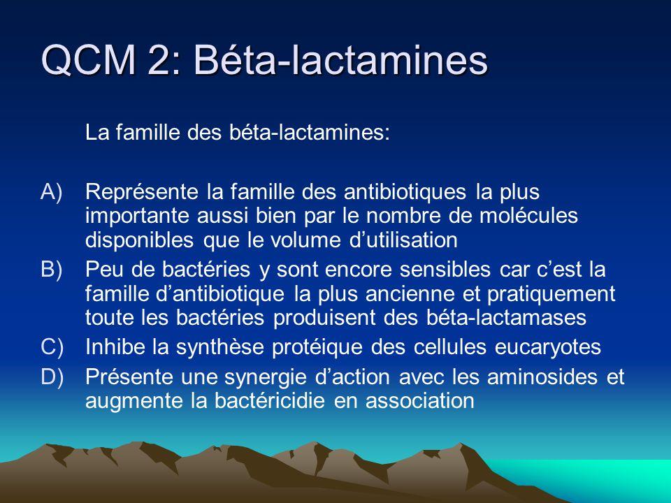 QCM 2: Béta-lactamines La famille des béta-lactamines: A)Représente la famille des antibiotiques la plus importante aussi bien par le nombre de molécu