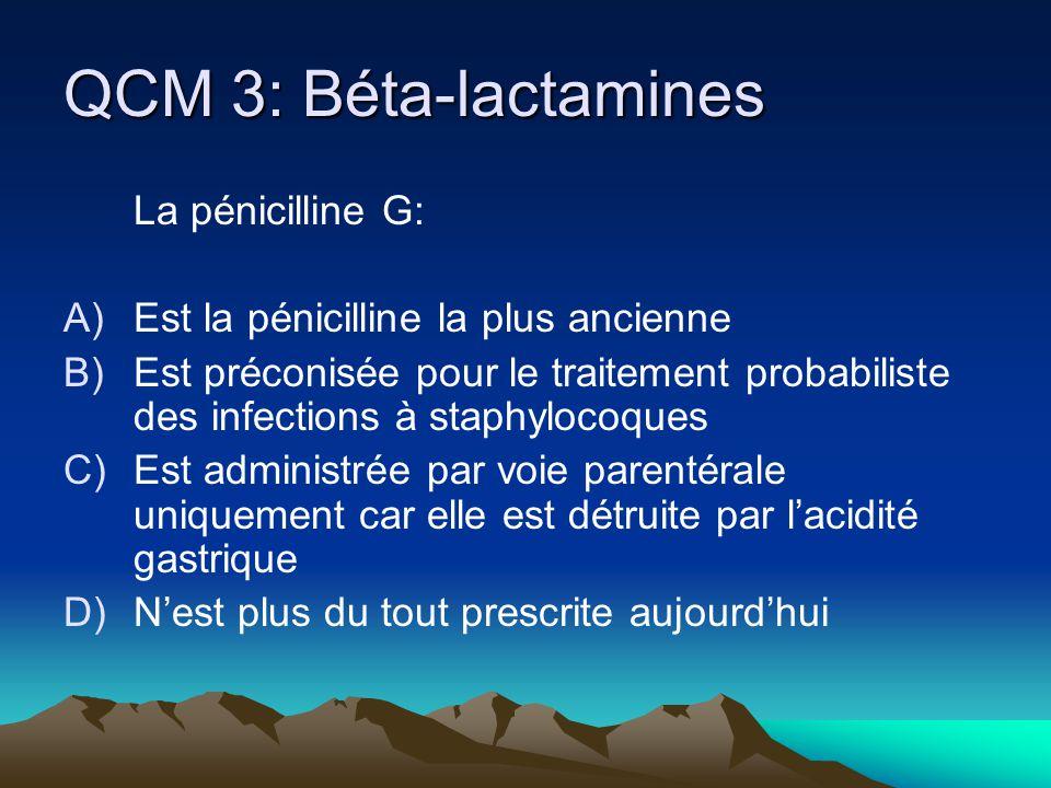 QCM 4: Béta-lactamines Les pénicillines du groupe M: A)Sont les pénicillines les plus anciennes B)Sont préconisée pour le traitement probabiliste des infections à staphylocoques communautaires C)Inhibent la synthèse de la paroi bactérienne même si la PLP est mutée en PLP2a D)Résistent à laction de la pénicillinase du staphylocoque