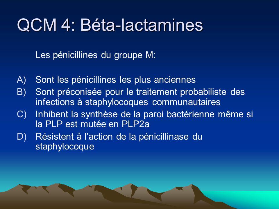 QCM 4: Béta-lactamines Les pénicillines du groupe M: A)Sont les pénicillines les plus anciennes B)Sont préconisée pour le traitement probabiliste des