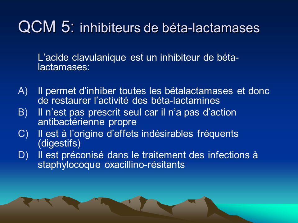 QCM 5: inhibiteurs de béta-lactamases Lacide clavulanique est un inhibiteur de béta- lactamases: A)Il permet dinhiber toutes les bétalactamases et don