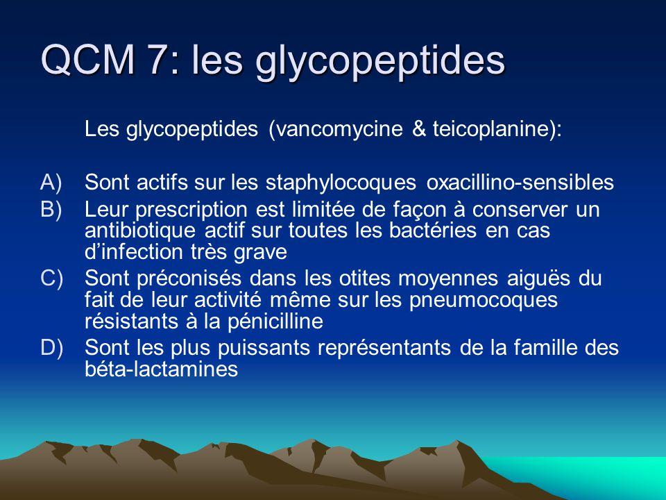QCM 7: les glycopeptides Les glycopeptides (vancomycine & teicoplanine): A)Sont actifs sur les staphylocoques oxacillino-sensibles B)Leur prescription