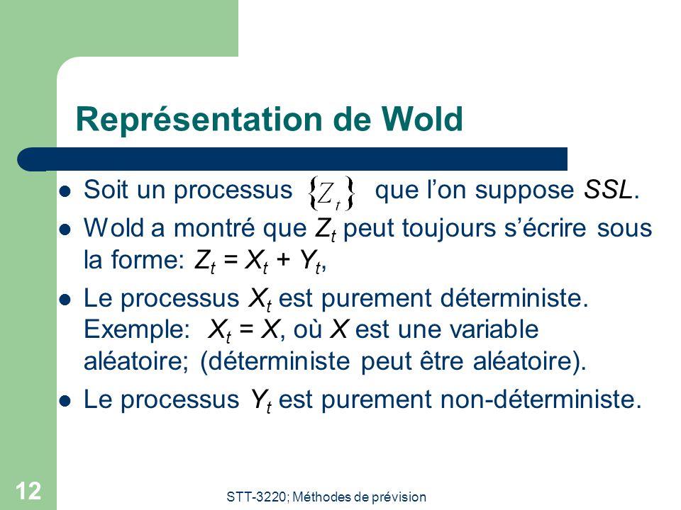 STT-3220; Méthodes de prévision 12 Représentation de Wold Soit un processus que lon suppose SSL. Wold a montré que Z t peut toujours sécrire sous la f