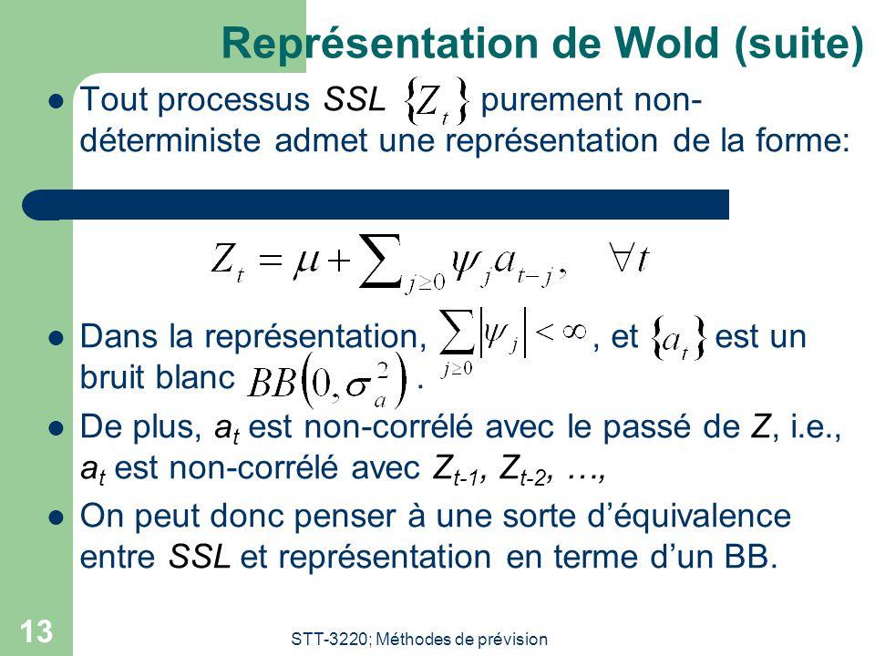 STT-3220; Méthodes de prévision 13 Représentation de Wold (suite) Tout processus SSL purement non- déterministe admet une représentation de la forme: