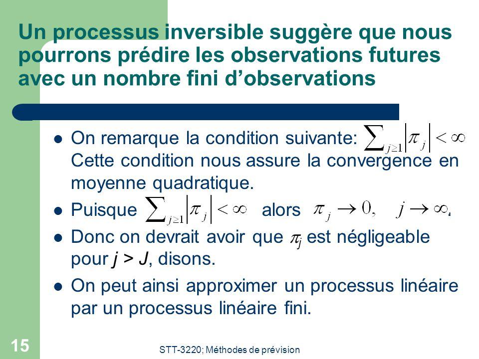 STT-3220; Méthodes de prévision 15 Un processus inversible suggère que nous pourrons prédire les observations futures avec un nombre fini dobservation