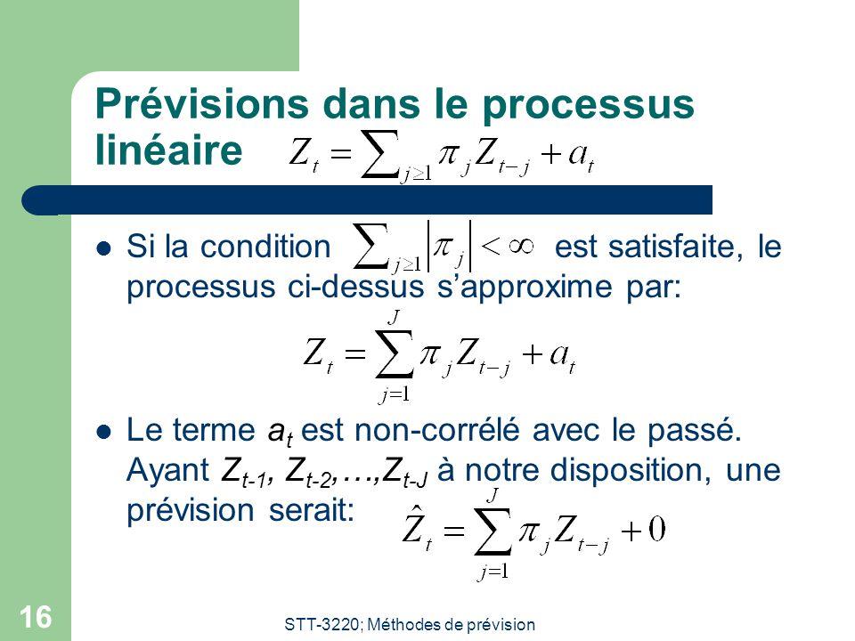STT-3220; Méthodes de prévision 16 Prévisions dans le processus linéaire Si la condition est satisfaite, le processus ci-dessus sapproxime par: Le ter