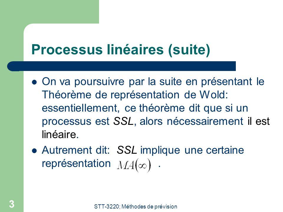 STT-3220; Méthodes de prévision 3 Processus linéaires (suite) On va poursuivre par la suite en présentant le Théorème de représentation de Wold: essen