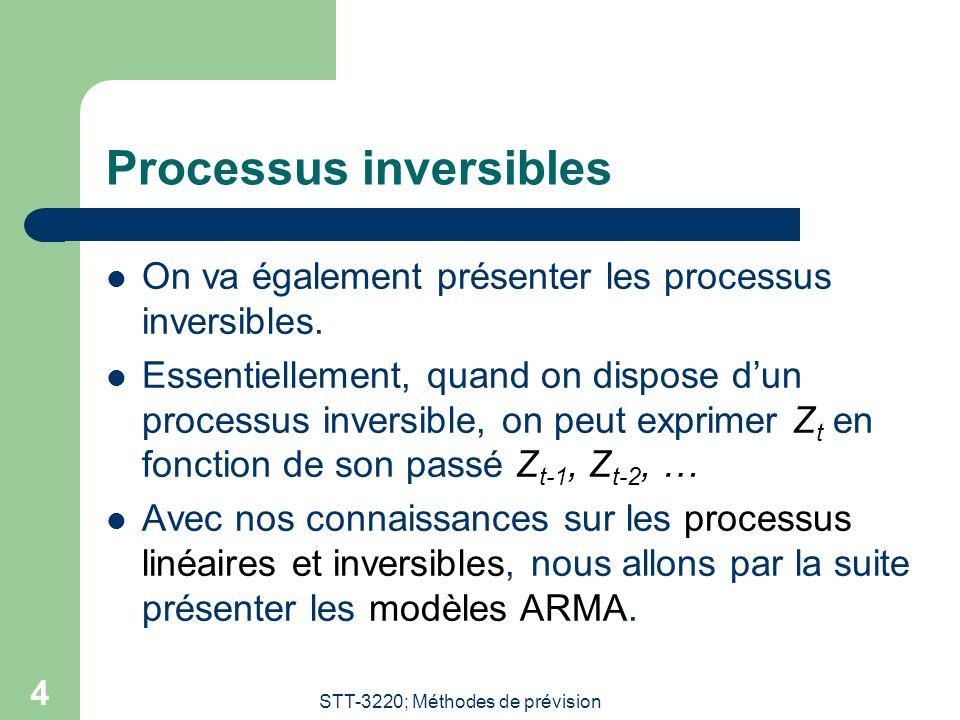 STT-3220; Méthodes de prévision 4 Processus inversibles On va également présenter les processus inversibles. Essentiellement, quand on dispose dun pro