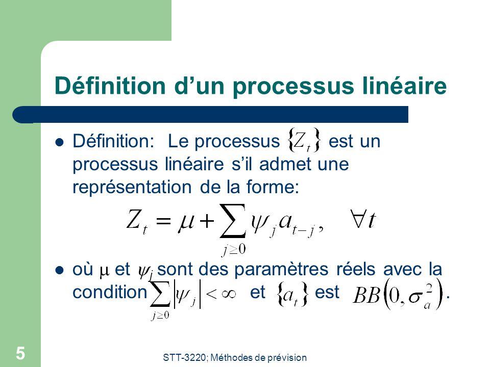 STT-3220; Méthodes de prévision 5 Définition dun processus linéaire Définition: Le processus est un processus linéaire sil admet une représentation de